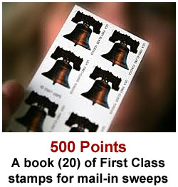 Get a free book of stamps for 500 Sweeties Rewards points