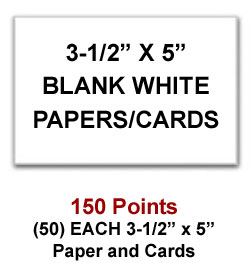 3-1/2 x 5 cards and papers for 150 Sweeties Rewards points
